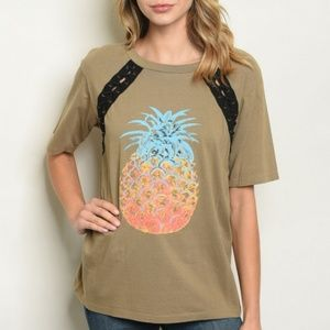 NWT Olive with Pineapple Print.